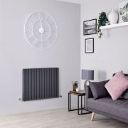 Milano Capri - Anthracite Flat Panel Horizontal Designer Radiator - 635mm x 834mm (Double Panel)