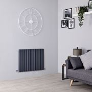 Milano Aruba - Anthracite Horizontal Designer Radiator - 635mm x 834mm (Double Panel)