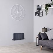 Milano Aruba - Anthracite Horizontal Designer Radiator - 400mm x 595mm (Double Panel)