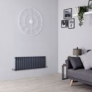 Milano Aruba - Anthracite Horizontal Designer Radiator - 400mm x 1000mm (Double Panel)