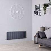 Milano Aruba - Anthracite Horizontal Designer Radiator - 400mm x 1180mm (Double Panel)