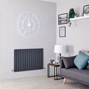 Milano Alpha - Anthracite Flat Panel Horizontal Designer Radiator - 635mm x 980mm (Double Panel)