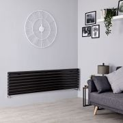 Milano Aruba - Black Horizontal Designer Radiator - 472mm x 1600mm (Double Panel)