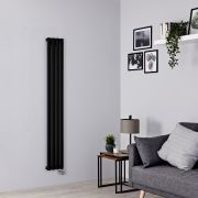 Milano Aruba Slim Electric - Black Vertical Designer Radiator - 1600mm x 236mm
