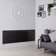 Milano Aruba - Black Horizontal Designer Radiator - 590mm x 1600mm (Double Panel)