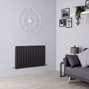 Milano Aruba - Black Horizontal Designer Radiator - 635mm x 1000mm (Double Panel)