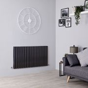 Milano Aruba - Black Horizontal Designer Radiator - 635mm x 1180mm (Double Panel)