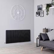 Milano Aruba - Black Horizontal Designer Radiator - 635mm x 1411mm (Double Panel)
