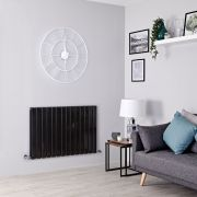 Milano Alpha - Black Flat Panel Horizontal Designer Radiator - 635mm x 980mm (Double Panel)