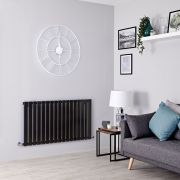 Milano Alpha - Black Flat Panel Horizontal Designer Radiator - 635mm x 1190mm