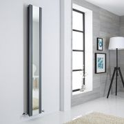 Milano Icon - Anthracite Vertical Designer Radiator With Mirror - 1800mm x 265mm