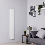 Milano Aruba Slim Electric - White Vertical Designer Radiator - 1600mm x 236mm (Double Panel)