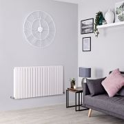 Milano Capri - White Flat Panel Horizontal Designer Radiator - 635mm x 1200mm (Double Panel)