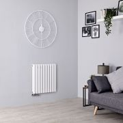 Milano Aruba Flow - White Horizontal Middle Connection Designer Radiator - 635mm x 590mm (Double Panel)
