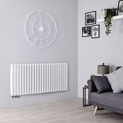 Milano Aruba Flow - White Horizontal Middle Connection Designer Radiator - 635mm x 1411mm (Double Panel)