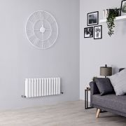 Milano Aruba - White Horizontal Designer Radiator - 400mm x 834mm (Double Panel)