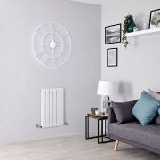 Milano Alpha - White Flat Panel Horizontal Designer Radiator - 635mm x 420mm (Double Panel)