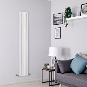 Milano Alpha - White Flat Panel Vertical Designer Radiator - 1600mm x 280mm