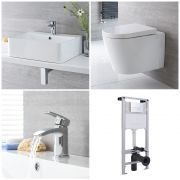 Milano Farington - Complete Modern Cloakroom Suite with Mono Basin Tap