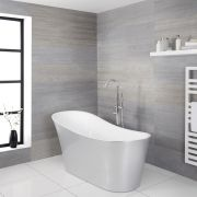Milano Select - Silver Modern Freestanding Slipper Bath - 1710mm x 745mm