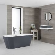 Milano Altcar - Stone Grey Modern Oval Double-Ended Freestanding Bath - 1695mm x 750mm