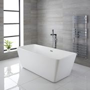 Milano Elswick - White Modern Square Double-Ended Freestanding Bath - 1615mm x 720mm