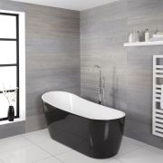 Milano Nero - Black Modern Freestanding Slipper Bath - 1800mm x 720mm