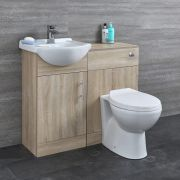 Milano Arch - Oak Modern 940mm Vanity and WC Combination Unit with Pan and Cistern