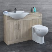 Milano Arch - Oak Modern 1140mm Vanity and WC Combination Unit with Pan and Cistern