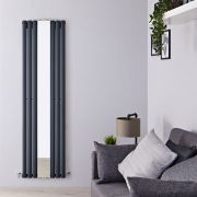 Milano Aruba - Anthracite Vertical Designer Radiator With Mirror - 1800mm x 499mm