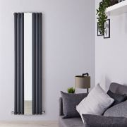 Milano Aruba - Anthracite Vertical Designer Radiator With Mirror - 1800mm x 499mm