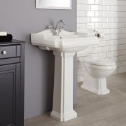 Milano Legend - Traditional 1 Tap-Hole Basin with Full Pedestal - 600mm
