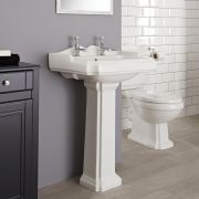Milano Legend - Traditional 2 Tap-Hole Basin with Full Pedestal - 600mm