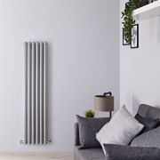 Milano Aruba - Silver Vertical Designer Radiator - 1500mm x 354mm (Double Panel)