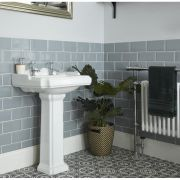 Milano Windsor - Traditional 2 Tap-Hole Basin with Full Pedestal - 600mm