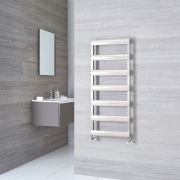 Milano Passo - Aluminium Brushed Chrome Heated Towel Rail - 1190mm x 500mm
