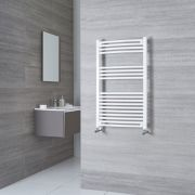 Milano Calder - White Curved Heated Towel Rail - 1000mm x 500mm