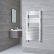 Milano Calder - White Curved Heated Towel Rail - 1200mm x 500mm