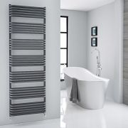Milano Bow - Anthracite D-Bar Central Connection Heated Towel Rail - 1800mm x 600mm