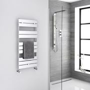 Milano Lustro - Chrome Flat Panel Designer Heated Towel Rail - 1000mm x 450mm