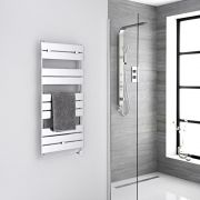 Milano Lustro Electric - Chrome Flat Panel Designer Heated Towel Rail - 1000mm x 450mm