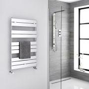Milano Lustro - Chrome Flat Panel Designer Heated Towel Rail - 1000mm x 600mm