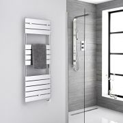 Milano Lustro Electric - Chrome Flat Panel Designer Heated Towel Rail - 1213mm x 450mm