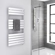 Milano Lustro Electric - Chrome Flat Panel Designer Heated Towel Rail - 1213mm x 600mm