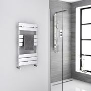 Milano Lustro - Chrome Flat Panel Designer Heated Towel Rail - 840mm x 450mm