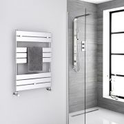 Milano Lustro - Chrome Flat Panel Designer Heated Towel Rail - 840mm x 600mm