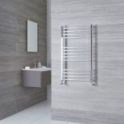 Milano Eco - Chrome Curved Heated Towel Rail - 1000mm x 500mm