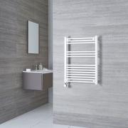 Milano Calder Electric - White Flat Heated Towel Rail - 800mm x 600mm