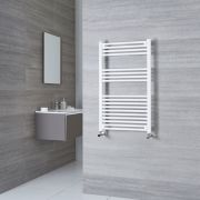 Milano Calder - White Flat Heated Towel Rail - 1000mm x 600mm