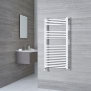 Milano Calder Electric - White Flat Heated Towel Rail - 1200mm x 600mm